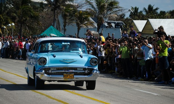 A 1950 classic Chevrolet takes part in o