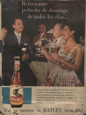 bebidas Anuncio con Odalys Fuentes. Reverso , enero 1959