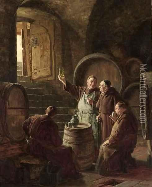 monjes en bodega de vinos